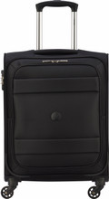 Delsey Indiscrete Soft 4 Wheel Slim Cabin Trolley 55cm Black