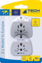 Travel Blue 2 x Wereld Adapter - Europa