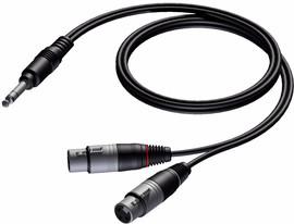Procab CAB734 6,3 mm stereo male - 2x XLR female 1,5 m