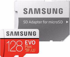Samsung microSDXC EVO+ 128 GB 100MB/s CL10 + SD Adapter