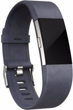 Fitbit Charge 2 Lederen Horlogeband Grijs Small