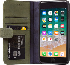 Decoded Leather Wallet iPhone 6+/6s+/7+/8+ Book Case Groen
