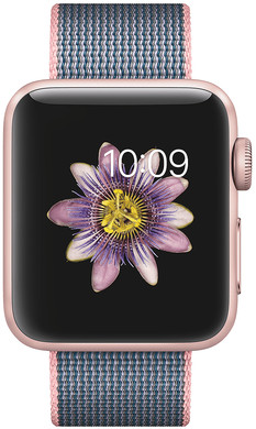 Apple Watch Series 2 38mm Rosegoud Aluminium/Lichtroze Middernacht Nylon