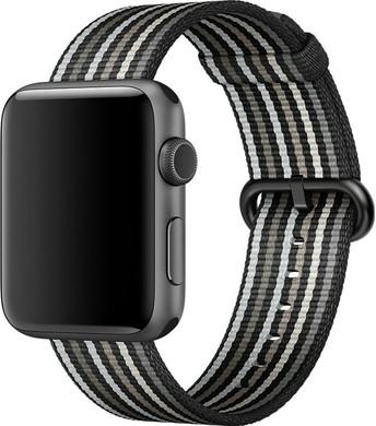 Apple Watch 42mm Nylon Woven Gestreept Zwart