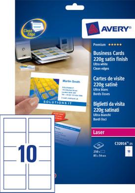 Avery Visitekaartjes Dubbelzijdig Zijdeglans 25 Vellen