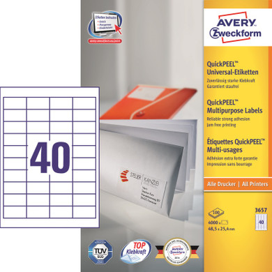 Avery Universele Etiketten Wit 48,5x25,4mm 100 vellen