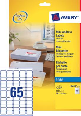 Avery Mini Etiketten Wit 38,1x21,2mm 25 vellen