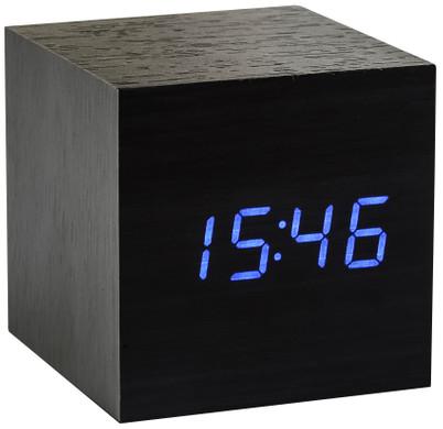 Gingko Cube Click Clock Zwart/Blauw