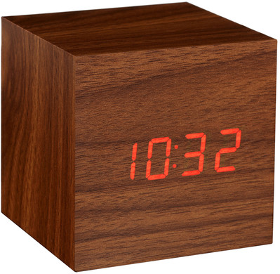 Gingko Cube Click Clock Walnoot/Rood
