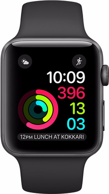 Apple Watch Series 2 38mm Spacegrijs Aluminium/Zwarte Sportband