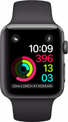Apple Watch Series 2 42mm Spacegrijs Aluminium/Zwarte Sportband