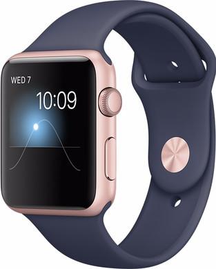 Apple Watch Series 1 42mm Rosegoud Aluminium/Middennachtblauwe Sportband