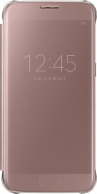 Samsung Galaxy S7 Edge Clear View Cover Rose Gold - Coolblue ... 9cc6d6569b06