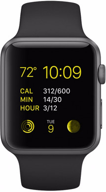 Apple Watch Sport 38mm Spacegrijs/Zwarte Sportband