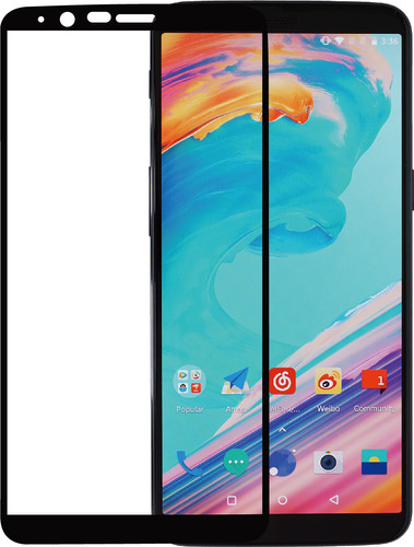 Azuri Protège-écran en Verre trempé Oneplus 5T Noir Main Image