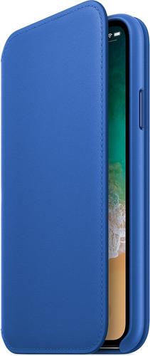 Apple iPhone X Leather Folio Book Case Electric Blue Main Image