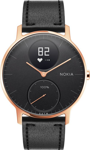 Nokia Steel HR (36mm) Rose Goud Zwart Leer Main Image
