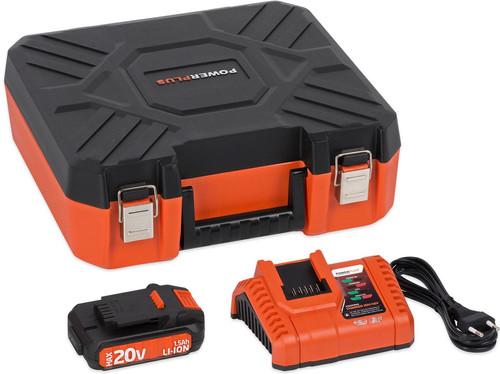 Powerplus Dual Power Battery Charger + Battery 20V 1,5 Ah Li-Ion Main Image