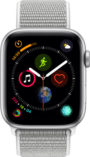 Apple Watch Series 4 44mm Zilver Aluminium/Grijze Nylon Sportband Main Image