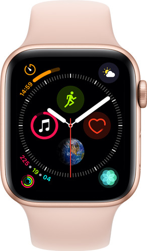 Apple Watch Series 4 44mm Goud Aluminium/Roze Sportband Main Image