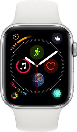 Apple Watch Series 4 44mm Zilver Aluminium/Witte Sportband Main Image