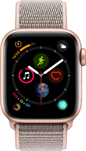 Apple Watch Series 4 40mm Goud Aluminium/Roze Nylon Sportband Main Image