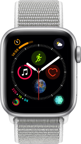 Apple Watch Series 4 40mm Zilver Aluminium/Grijze Nylon Sportband Main Image