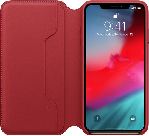 Apple iPhone Xs Max Leather Folio Book RED Main Image