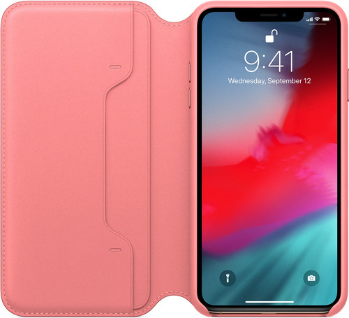 Apple iPhone Xs Max Leather Folio Book Pioen Roze Main Image