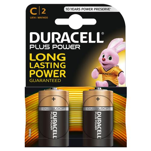 Duracell Plus Power alkaline C batteries 2 pieces Main Image