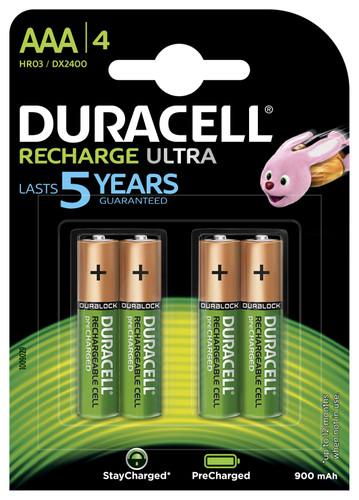 Piles AAA Duracell Recharge Ultra 4 pièces Main Image