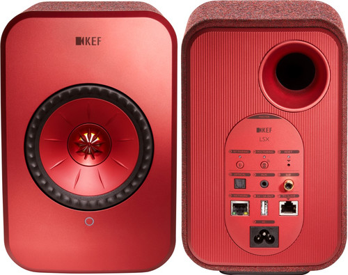 KEF LSX wireless stereo system Red