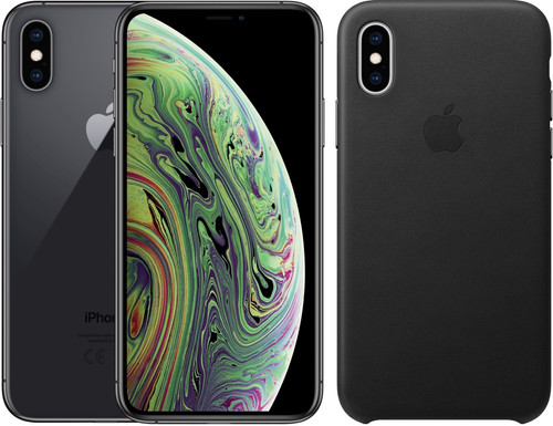 Apple iPhone Xs Max 512 Go Gris sidéral + Back Cover Cuir