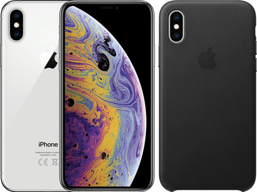 Apple iPhone Xs Max 64 Go Argent + Back Cover Cuir