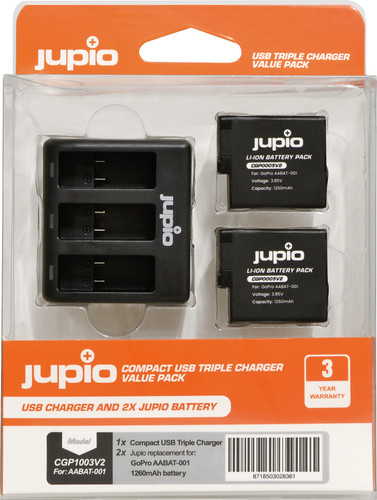 Jupio Kit : GoPro HERO5/6/7 & HERO (2018) (2x) Pile + Triple chargeur USB Main Image