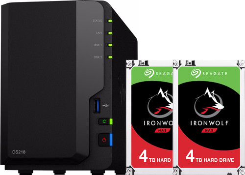 Synology DS218 met 2x Seagate IronWolf 4 TB harde schijf Main Image