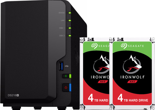Synology DS218+ met 2x Seagate IronWolf 4 TB harde schijf Main Image