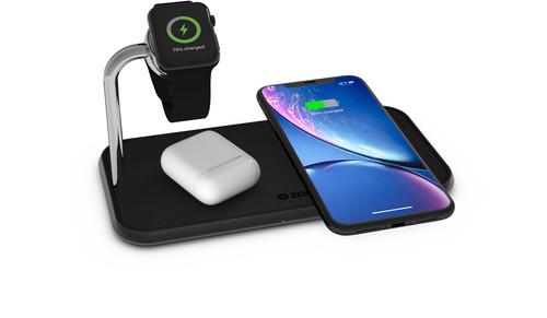 ZENS Dual & Watch Aluminium Draadloze Oplader 10W Zwart Main Image