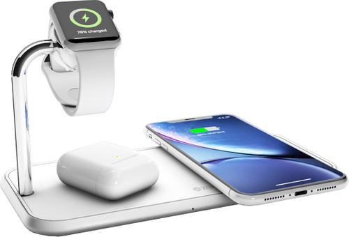 ZENS Dual & Watch Chargeur sans fil en Aluminium 10 W Blanc Main Image