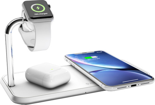 ZENS Dual & Watch Aluminium Draadloze Oplader 10W Wit Main Image