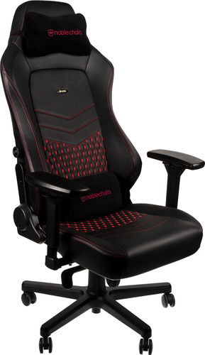 Surprising Noblechairs Hero Gaming Chair Genuine Leather Black Red Dailytribune Chair Design For Home Dailytribuneorg
