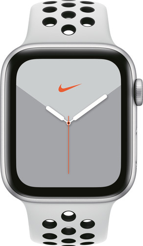 Apple Watch Nike Series 5 44mm Zilver Aluminium / Witte Sportband Main Image