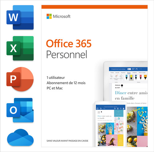Microsoft Office 365 Personal Subscription 1 year FR Main Image