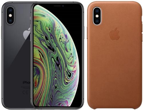 Apple iPhone Xs 256 Go Gris sidéral + Back Cover Cuir
