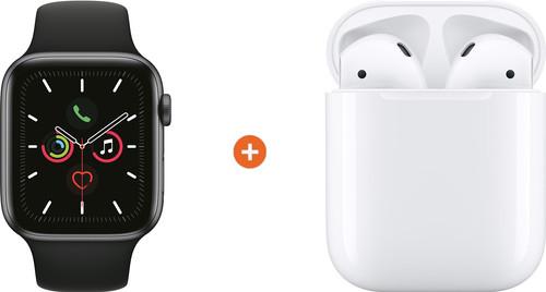 Apple Watch Series 5 44mm Space Gray Zwarte Sportband + Apple AirPods 2 Main Image