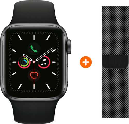 Apple Watch Series 5 44mm Space Gray Black Sport Band + Watch strap Milanese Space Black Main Image