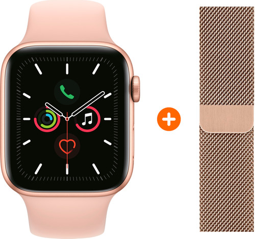 Apple Watch Series 5 40 mm Or Bracelet Sport Rose + Bracelet Milanais Or Main Image