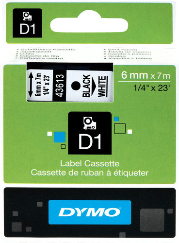 Dymo D1 Naamlabels Zwart-Wit (6 mm x 7 m) Main Image