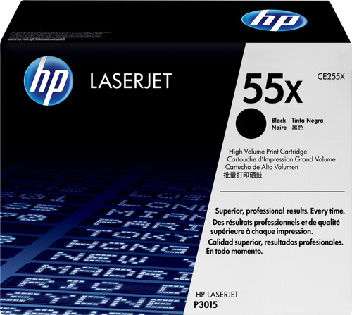 HP 55X LaserJet Toner Zwart XL (CE255X) Main Image