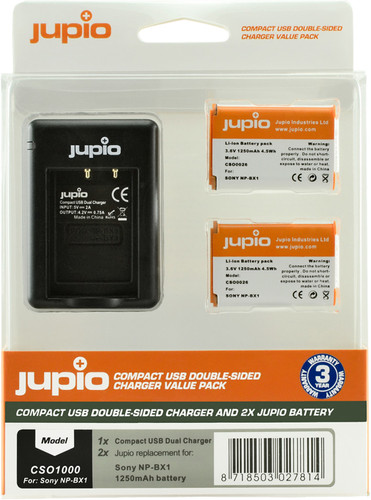 Jupio Kit : Batterie NP-BX1 (2x) + Chargeur USB Double Main Image